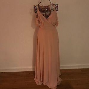 Lulu's  Pale Pink Wrap Bridesmaid DRess Sz M